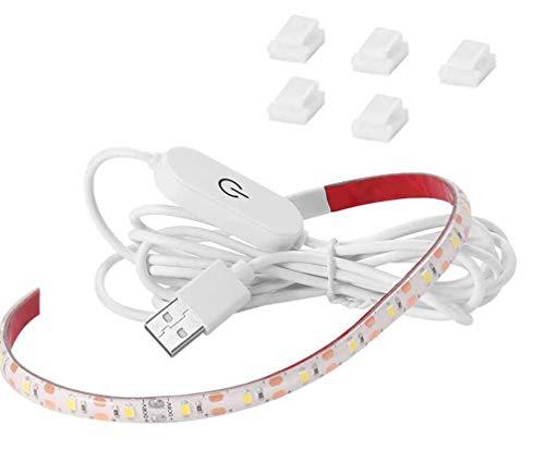 CUQI Tiras de luz para máquina de coser USB, 5 V, 30 cm, LED con regulador táctil y clips adhesivos, 18 máquinas de coser ajustables LED, armario de cocina, cunas (blanco)