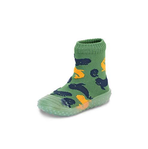 Sterntaler Baby-Jungen Adventure Wale Hausschuh-Socken, Grün, 26