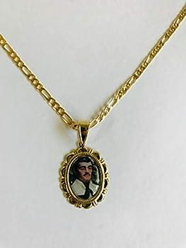 Santuario Jewelry Jesus Malverde Medalla y Cadena Figaro Gold Filled hecha a mano