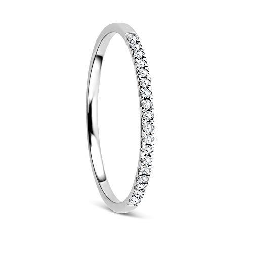 Orovi Damen Ring Weißgold 0.09 Ct Diamant Eternity/Ewigkeitsring 18 Karat (750) Gold und Diamanten Brillanten
