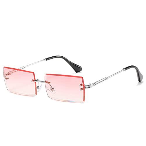 WEARRR Estilo Viajero Moda Sin Monta de montañismo Gafas de Sol de Moda Pequeño rectángulo Gafas de Sol UV400 Shades para Hombres Mujeres Gafas (Color : Silver Pink)