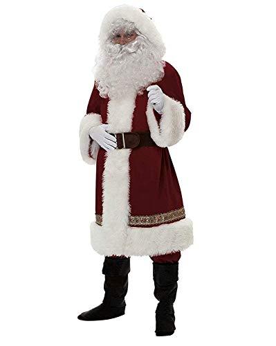 Kaizizi - Traje de Papá Noel para hombre, 5 piezas Disfraz navideño de Papá Noel para hombre adulto, incluye barba y prendas clásicas navideñas de franela para cosplay