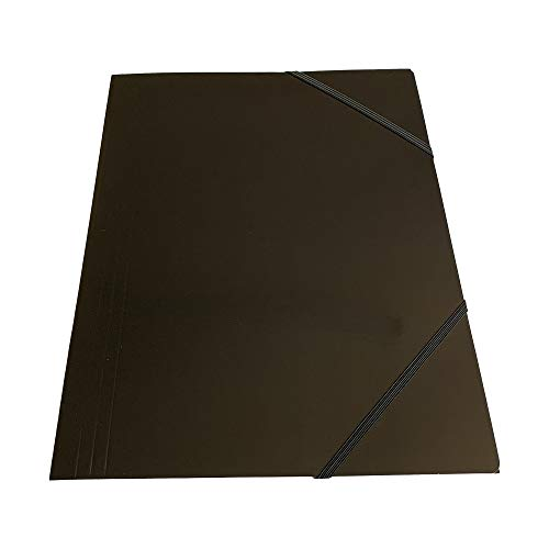 Pack of 12 Janrax A4 Black Laminated Card 3 Flap Folders with Elastic Closure