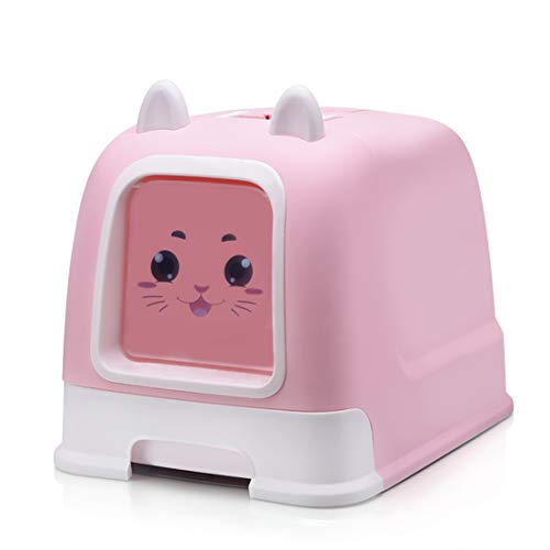 Catter Völlig Geschlossen Katzenstreu Tablett Groß Tragbar Ecke WC-Box Herausziehen Anti-Splash Einfach zu Säubern Katzentoilette, 52x40x40cm,Pink