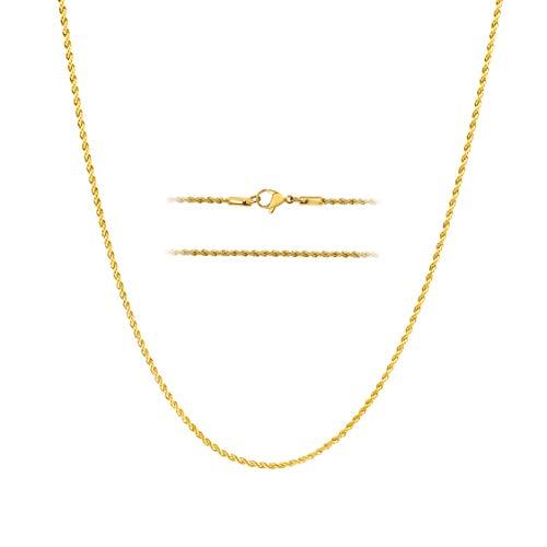 MAJU Cadena de Cadera de Acero Inoxidable sobre Oro de 18 Quilates, 2 – 8 mm, 40,64-91,44 cm