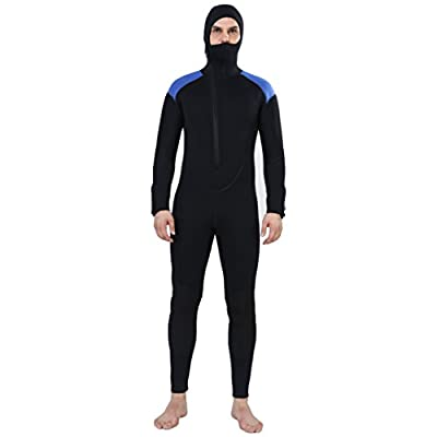 REALON Wetsuit 5mm Full Diving Suit Front Zipper Hoodie Snorkeling Surfing Suits Men (5mm Black Blue, 2X-Large)