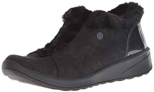 Bzees Women's Golden Ankle Boot, Black Microfiber/Black Faux Fur, 9 M US