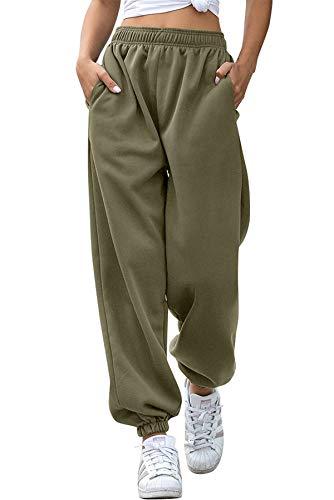 Pantaloni Sportivi da Donna Ragazza Pantaloni Larghi Hip Hop per Jogging Sport Ginnastica Palestra Danza con Elastico Casual Moda