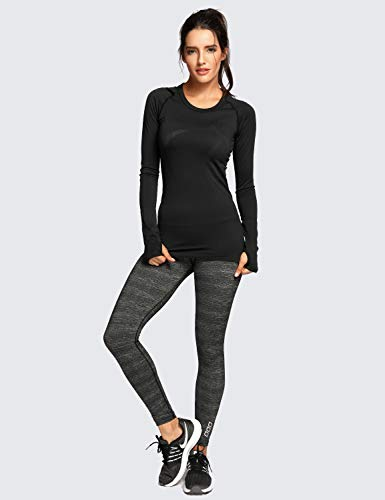 CRZ YOGA Women's Seamless Athletic Long Sleeves Sports Running Shirt Breathable Gym Workout Top Black-Slim Fit X-Small