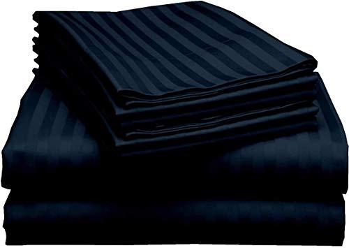 6 Piece Twin XL Bed Sheet Set 600 Thread Count Long Staple Egyptian Cotton Soft Sateen Weave Sheets Sets Fits Mattress Upto 18'' DEEP Pocket (Navy Blue Stripe, Twin XL)