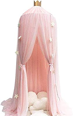 Conthfut Bed Canopy Premium Yarn Play Tent Bedding for Kids Playing Reading with Children Round Lace Dome Netting Curtains Baby Boys and Girls Games House (Pink)