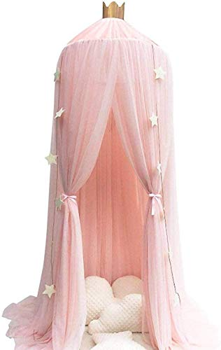Conthfut Bed Canopy Premium Yarn Play Tent Bedding for Kids Playing Reading with Children Round Lace Dome Netting Curtains Baby Boys and Girls Games House Pink