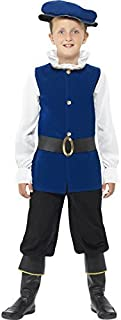 4 Piece Boys Blue Tudor Shakespeare Historical Book Day Week Fancy Dress Costume Outfit 4-12 Years