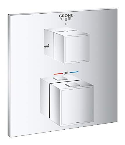 GROHE Grohtherm Cube 24155000 Thermostaat-badaccu met geïntegreerde 2-weg omschakeling, chroom, chroom