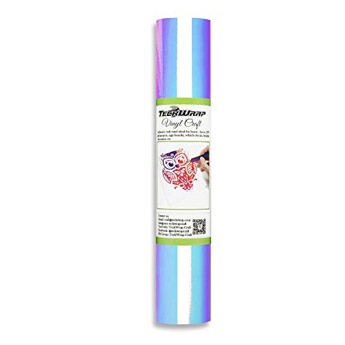 TECKWRAP Holographische Chrome Craft Vinyl Blatt für Silhouette Cameo, Craft Cutters, Sign Plotters 1x5ft, Opal White