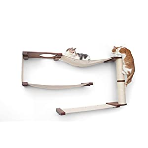 CatastrophiCreations Deluxe Maze Set for Cats Multiple-Level Wall Mounted Scratch, Hammock Lounge