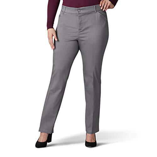 Lee Women's Plus Size Flex Motion Regular Fit Straight Leg Pant, Green Gray, 30W Medium