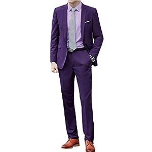 MANMASTER(マンマスター)メンズ カラースーツ スリム 細身 二つボダン 上下セット ジャケット スラックス ビジネススーツ 紳士服 フォーマルスーツ パーティ 結婚式 礼服 舞台演出 ステージ衣装CH387 (XS, パープル)