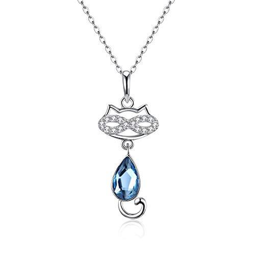 Damen Cat Halskette Silber Kette Frauen Chain Y-Anhänger Einfache Schmucksachen mit Elegante Geschenkbox