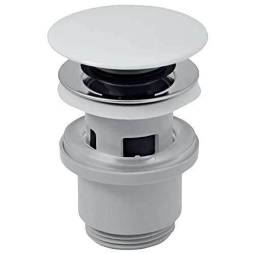 VBChome Universal Click-Clack Pop Up Ventil Ablaufgarnitur mit Push Druckfunktion Push-open-Technik Ablaufventil Abfluss Ventil und Keramik-Stopfen für Waschtisch Waschbecken mit Überlauf - weiß