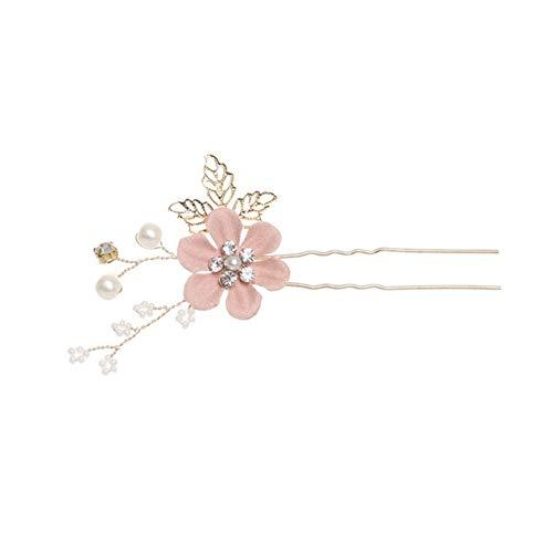 YUNGYE 1pc nuptiaux Hairpins Headpiece Mariage Coiffe Clips Bride Cheveux Accessoires de soirée de Mariage Bijoux de Cheveux (Metal Color : Pink 1PC)