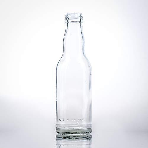 Flaschenbauer - 20 leere kleine Kropfhals Glasflaschen mit Schraubverschluss 200 ml zum selbst Befüllen als Saftflaschen, Sirupflaschen, Likörflaschen - mit 28 MCA Verschluss gold