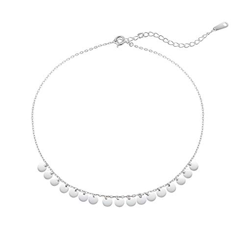 Monily Dainty Coin Tassels Anklet S925 Sterling Silver Sequin Ankle Bracelet for Women Boho Beach Foot Jewelry
