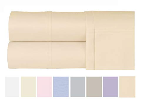 Luxurious Cotton Rich 600 Thread Count Bed Sheet Sets - Soft & Wrinkle Free, Quick Dry, Fade & Stain Resistant. Extra Elasticity & Breathability - King/Queen (4 Piece Set) (Queen, Peach)