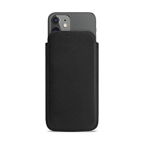 WIIUKA Hülle für iPhone 12 mini, Lederhülle extra Dünn, Deutsches Premium Leder, Design Handyhülle Tasche Schwarz