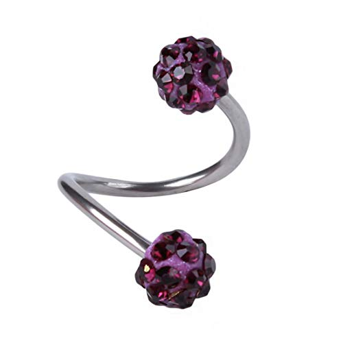Sperrins Crystal S Shape Twist Ear Spiral Tragus Earrings Stainless Steel Cartilage Ring Piercing (Color 3)