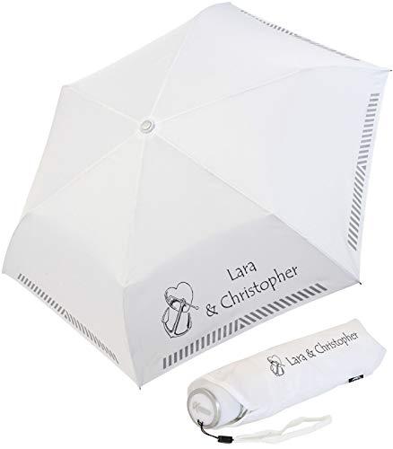 iX-brella Mini Hochzeits-Taschenschirm mit reflektierender Borte Herz und Anker personalisiert mit Namen