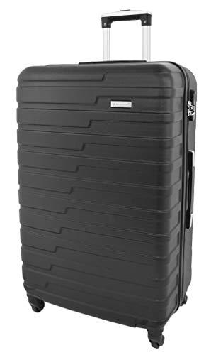 Hard Shell 4 Wheel Spinner Suitcase Lightweight Travel Luggage Sonic Black (Large 76 cm)