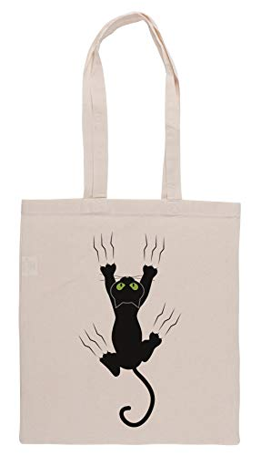 Luxogo Komisch Schwarz Wütend Katze T-Shirt Ich Liebe Katzen Süß Grafik T Einkaufstasche Groceries Beige Shopping Bag