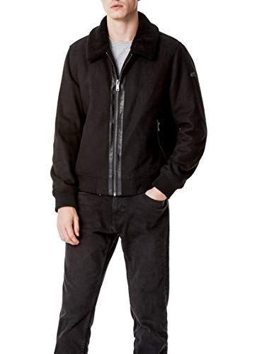 DKNY Men's Wool Blend Bomber Jacket with Sherpa Collar, Black, X-Large