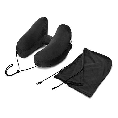 JONJUMP H forma inflable almohada de viaje plegable ligera siesta cuello almohada asiento oficina dormir almohada