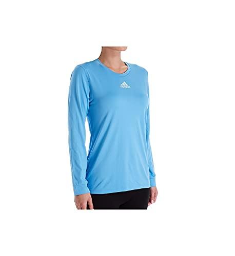 adidas Creator Climalite Camiseta de manga larga con cuello redondo para mujer 12H6, XL, Azul claro