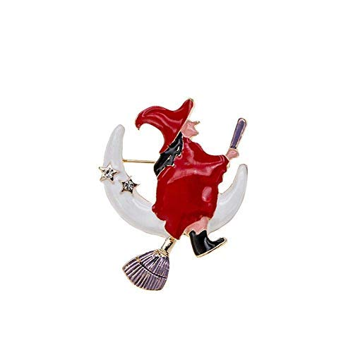 Fliyeong Women Fashion Enamel Witch Moon Stars Brooch Pin Halloween Jewelry Red Durable and Useful