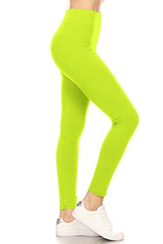 LYX128-NEONLIME Yoga Solid Leggings, Plus Size