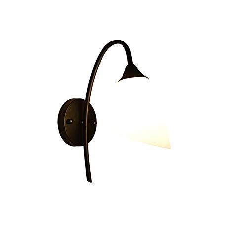 ZCCLCH Americano Moderno Simple Luz de pared Creativo Cuello de cisne Hierro Arte Cristal Pantalla Negro Pequeña lámpara de pared Interior Decoración for el hogar Decoración Iluminación Atmósfera Lámp