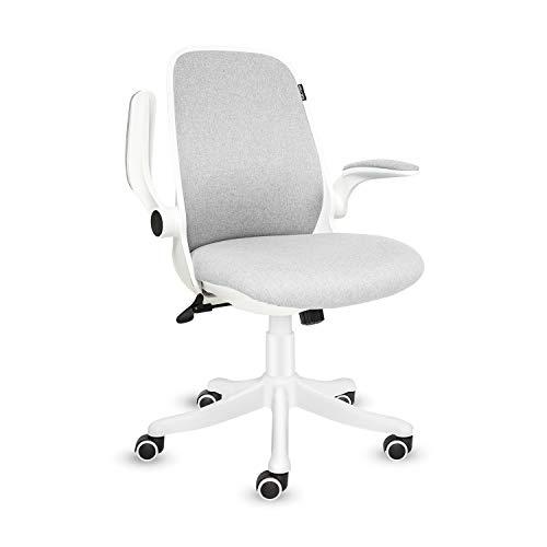 Fullwatt, sedia da ufficio in tessuto con braccioli ribaltabili, ergonomici, a dondolo a 30°, rotazione a 360°, superficie di sollevamento, base in nylon rinforzato (grigio e bianco)