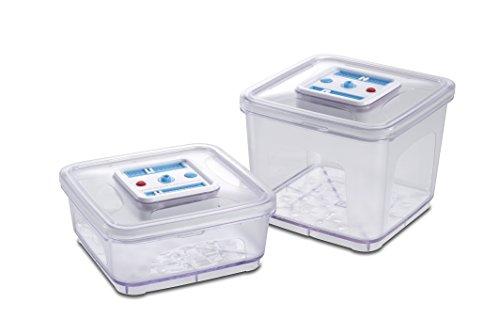 Solis Vakuumierbehälter-Set, 2 Stück, 1000/ 2800 ml, Quadratisch, Datums- und Unterdruckanzeiger, Vakuumieren/ Marinieren