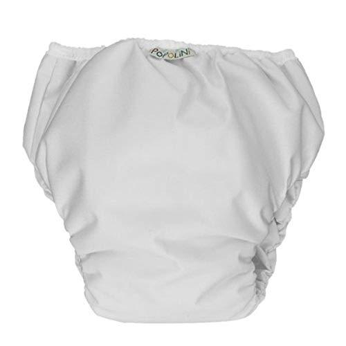 Popolini Trainers, Bravo-weiß, wasserdichte Unterhose zur Sauberkeitserziehung, mit Bio-Baumwolle, Größe S 9-12kg