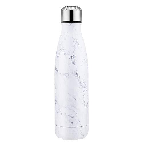 SEPT MIRACLE Sept Miracolo Tenere Caldo e Freddo in Acciaio Inox colorato Water Bottle Thermos ermetica Doppia Parete Tazze di Sport (500 ml) (White Marble)