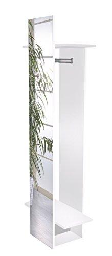 Schildmeyer Brisbane 132966 Spiegelregal, melaminharzbeschichtete Spanplatte, weiß glanz, 34,1 x 30,6 x 175,1 cm
