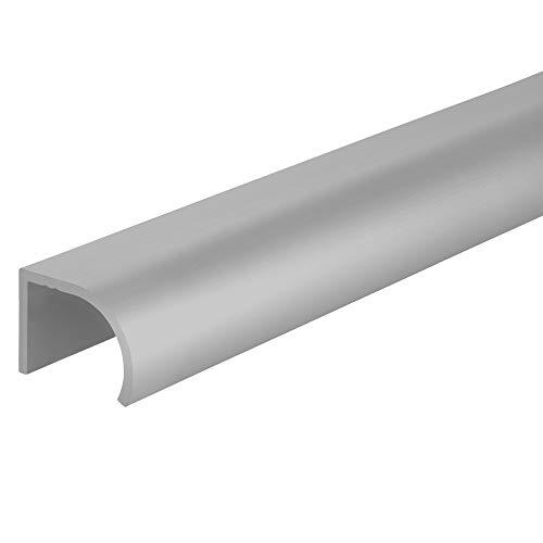 Gedotec Tirador de aluminio para muebles de cocina, barra de perfil acortable, básico, tirador de puerta con longitud de 1000 mm, mango de puerta de armario anodizado en plata