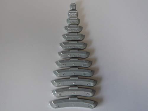 Lot de 25 poids d'équilibrage en zinc pour roues en acier revêtu de plastique, poids de croissance 985020-25