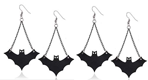 2 Pairs Halloween Costumes Decorations Long Dangle Vampire Bat Earrings Scary Halloween Party Favors Decorations Gifts for Women Girls by TQsuen, 4 Pieces