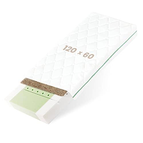 BestCare Premium Babymatratze aus Pflanzenfasern | 120 x 60 x 12 cm | Aloe Vera Bezug | 2-seitig (Baby/Kleinkind) | Naturmatratze | kein Latex und Chemischer Geruch | EU Produkt
