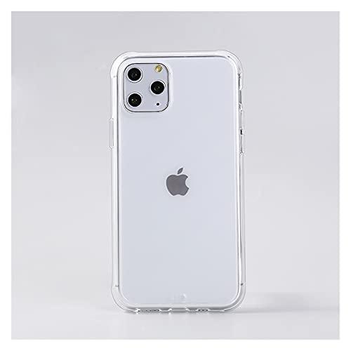 Lwcybh Estuche de teléfono Transparente Mate para I-Phone 12 11Pro MAX XR X XS MAX 8 7 6Plus Estuche rígido Transparente a Prueba de Golpes para PC con Marco de Silicona
