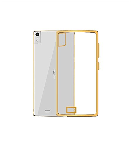 Case Creation Ultra Thin Silicone Transparent Soft Golden Case Border Corner Protection TPU Back Cover for Gionee Elife S5.5 -Gold